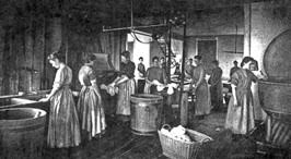Girls perform laundry duty